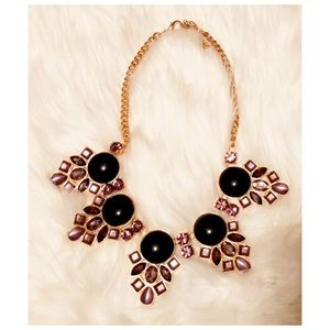 Black & gold jeweled necklace